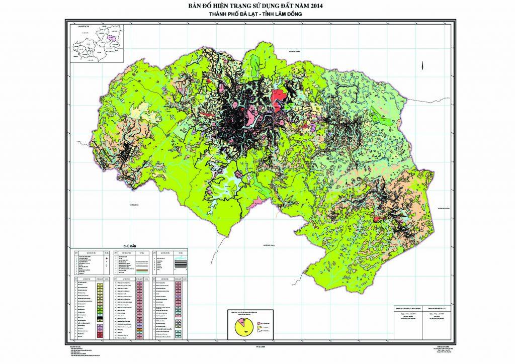 Bản đồ hiện trạng sử dụng đất TP Đà Lạt tỉnh Lâm Đồng 2014 - Ảnh Internet