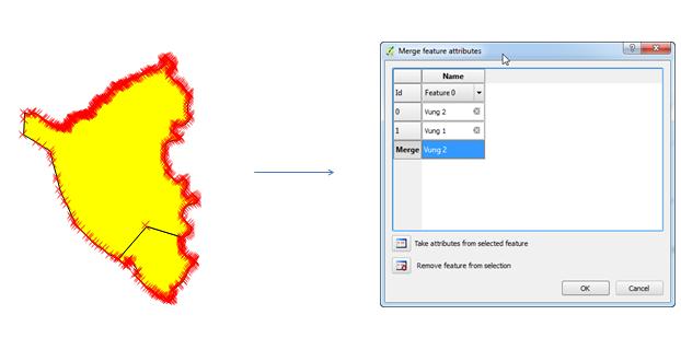 Gộp đối tượng với công cụ Merge Selected Features