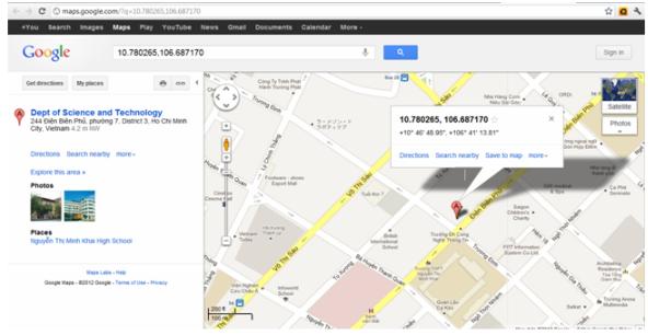 Geo coordinates sẽ hiển thị vị trí trên google maps