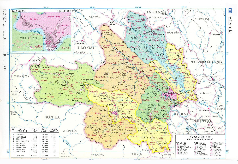 Bản đồ hành chính tỉnhYên Bái