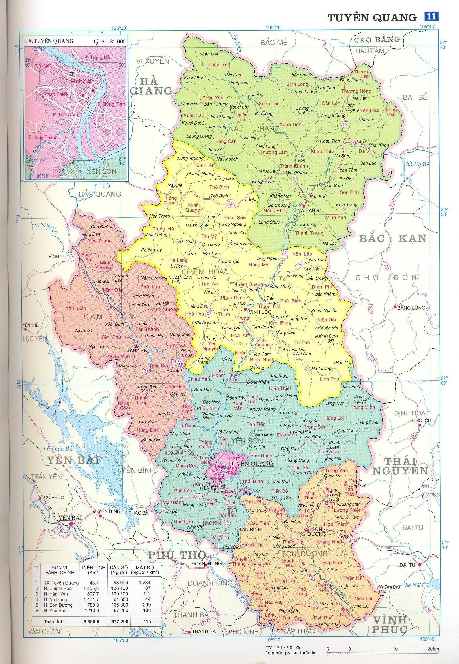 Bản đồ hành chính tỉnhTuyên Quang