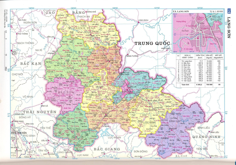 Bản đồ hành chính tỉnhLạng Sơn