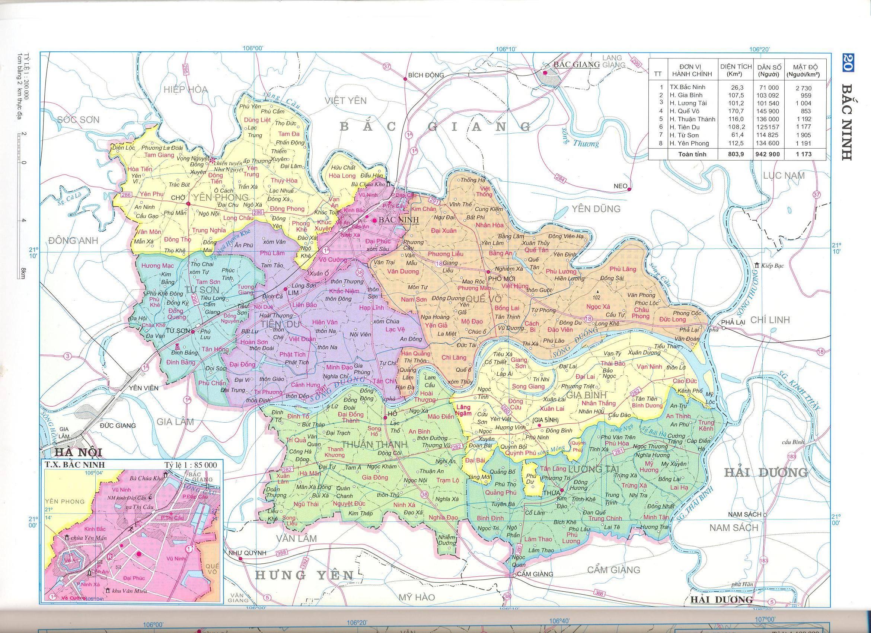 Bản đồ hành chính tỉnhBắc Ninh