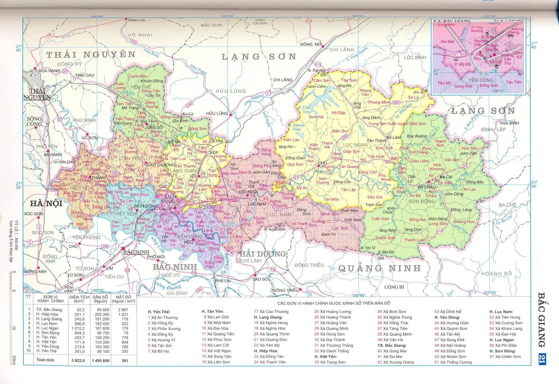 Bản đồ hành chính tỉnhBắc Giang