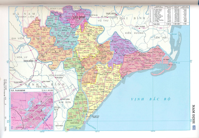 Bản đồ hành chính tỉnhNam Định