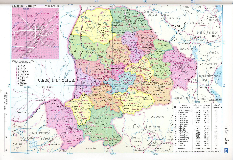 Bản đồ hành chính tỉnh Dak Lak