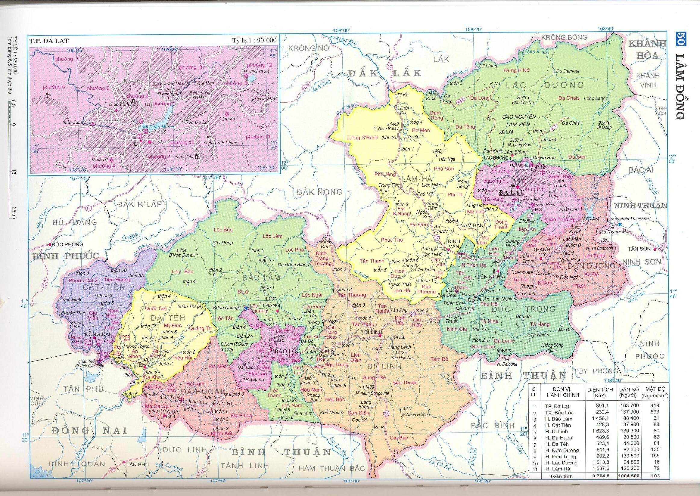 Bản đồ hành chính tỉnh Lâm Đồng