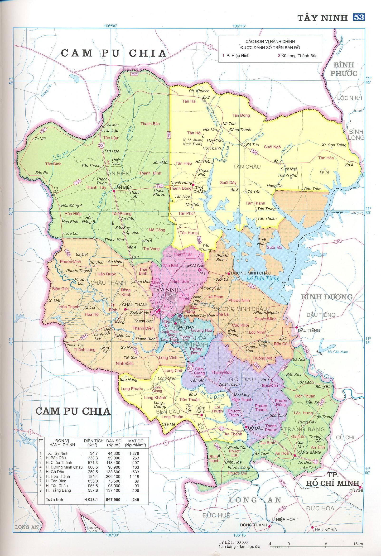 Bản đồ hành chính tỉnh Tây Ninh