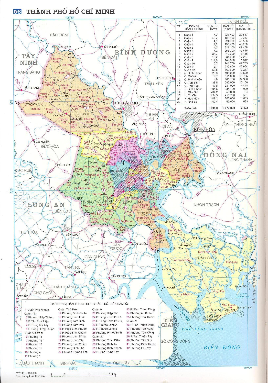 Bản đồ hành chính Tp. Hồ Chí Minh