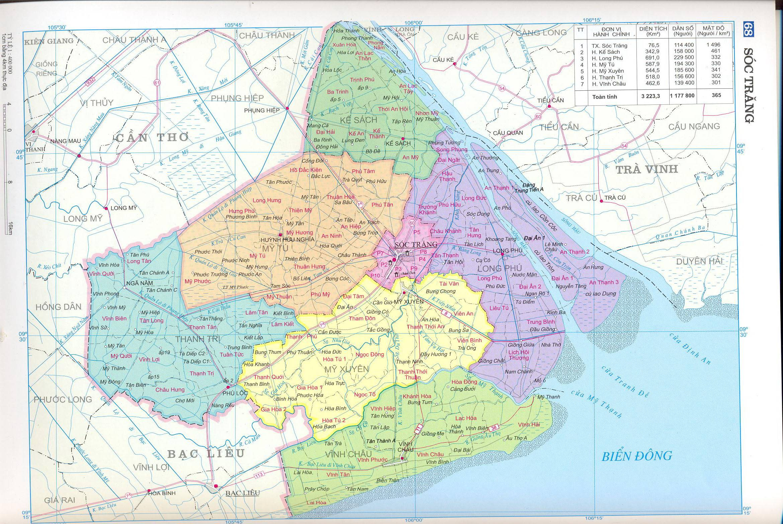 Bản đồ hành chính tỉnhSóc Trăng