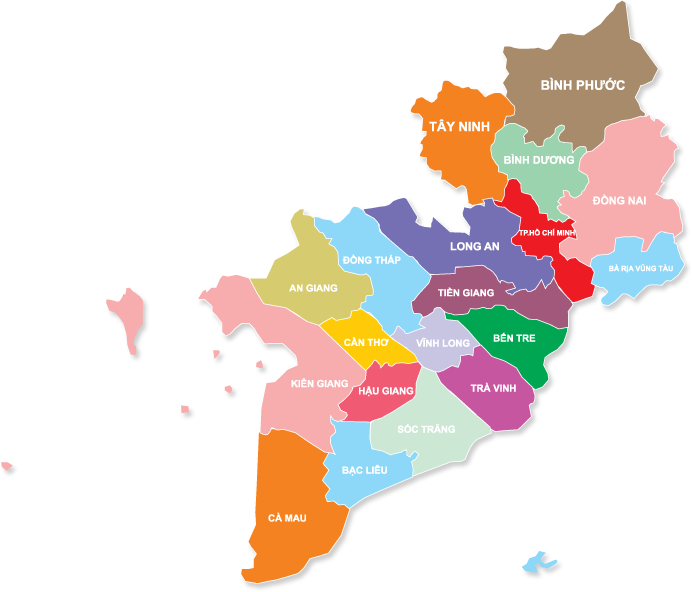 Bản đồ các tỉnh miền Nam Việt Nam