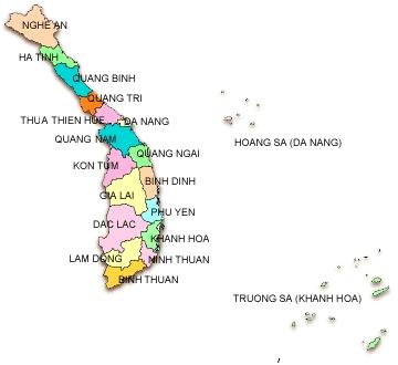 Bản đồ các tỉnh miền Trung Việt Nam