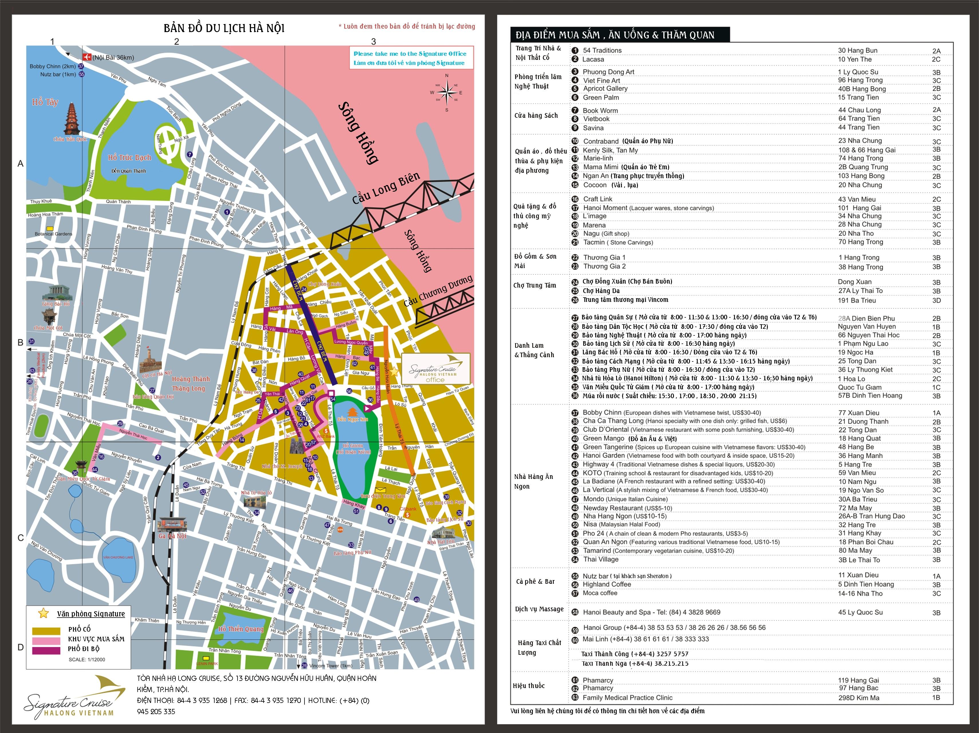 bản đồ địa điểm du lịch hà nội