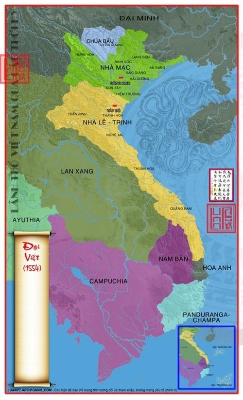 Năm 1554 lãnh thổ Đại Việt bị chia làm 2 nửa nhà Mạc phía Bắc, nhà Lê – Trịnh phía Nam