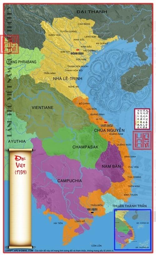 Từ 1736 – 1739 Lãnh thổ Việt Nam mở rộng đến tận mũi Cà Mau như ngày nay