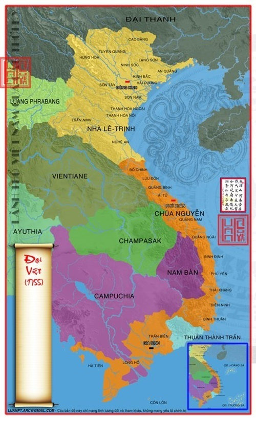 Năm 1755 sát nhập thêm Long An và Tiền Giang vào Lãnh thổ Đại Việt