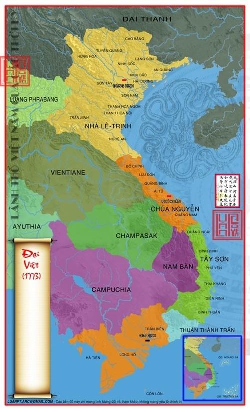 Lãnh thổ Việt Nam bị chia làm 3 vào năm 1773