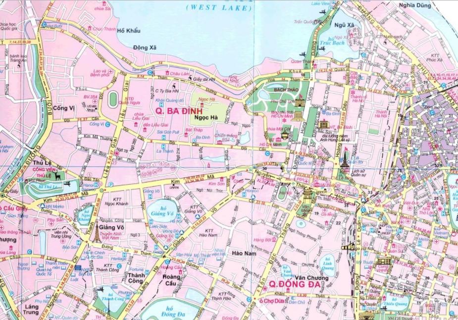 Bản đồ du lịch Hà Nội - Quận Ba Đình