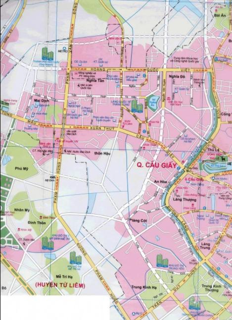 Bản đồ du lịch Hà Nội - Quận Cầu Giấy