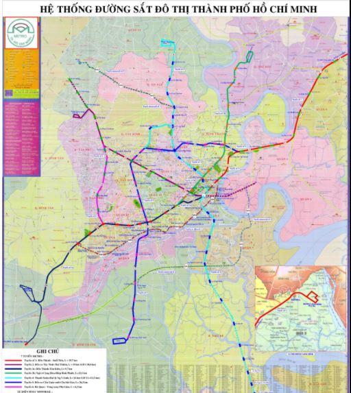 Bản đồ quy hoạch hệ thống đường sắt đô thị TP. Hồ Chí Minh