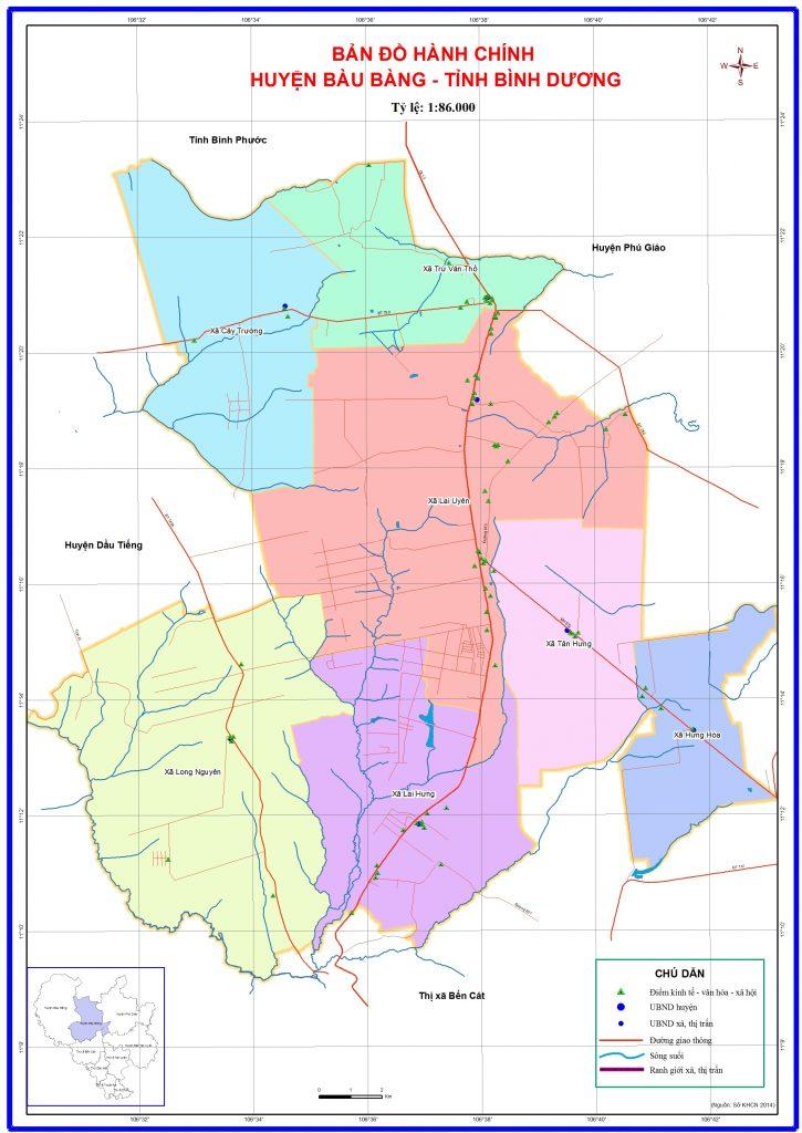 Bản đồ hành chính huyện Bàu Bàng