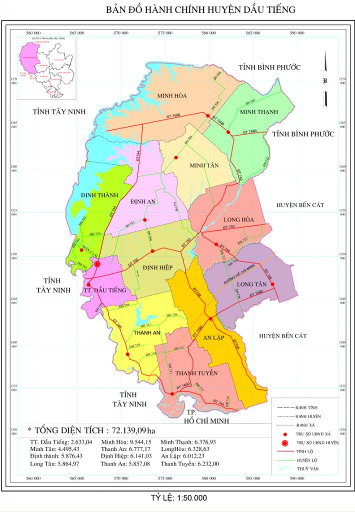 Bản đồ hành chính huyện Dầu Tiếng