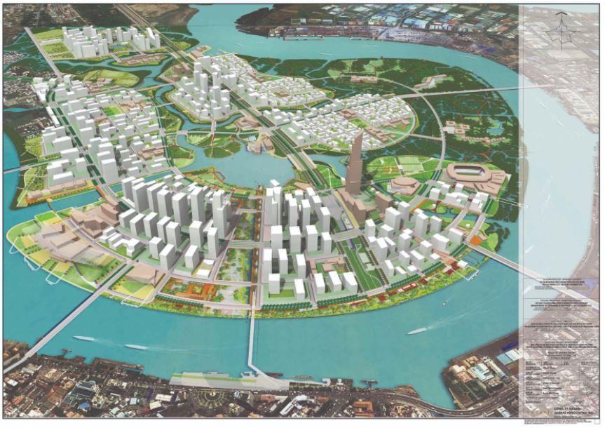 Bản đồ phối cảnh 3D khu đô thị Thủ Thiêm quận 2