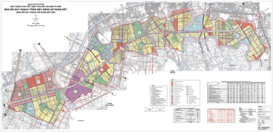 Bản đồ quy hoạch sử dụng đất khu đô thị Nam Sài G