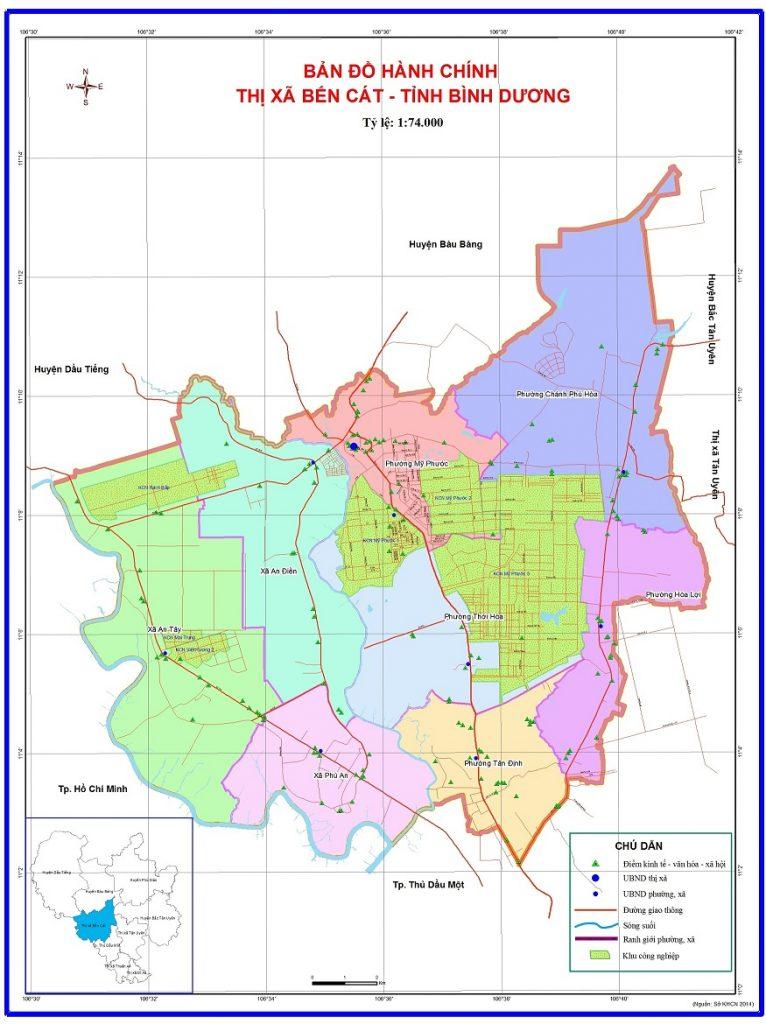 Bản đồ hành chính thị xã Bến Cát