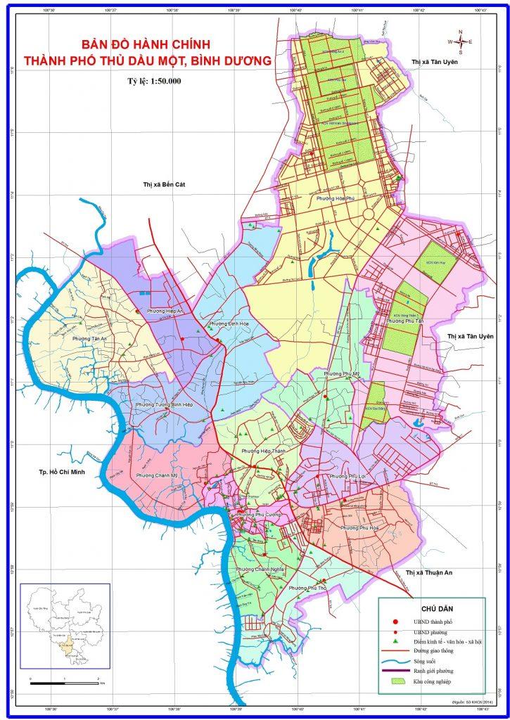 Bản đồ hành chính thành phố Thủ Dầu Một