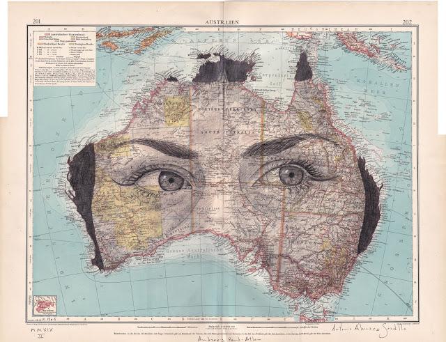 Tiêu đề: Úc , 2019 Kỹ thuật: vẽ, mực và bút chì .. Hỗ trợ: giấy. bản đồ Allgemeiner Handatlas Ed. 1905. Bản in của Litva. Số đo tại chỗ: 42 x 55 cm Đóng khung 73x60 cm Đóng khung Có khung
