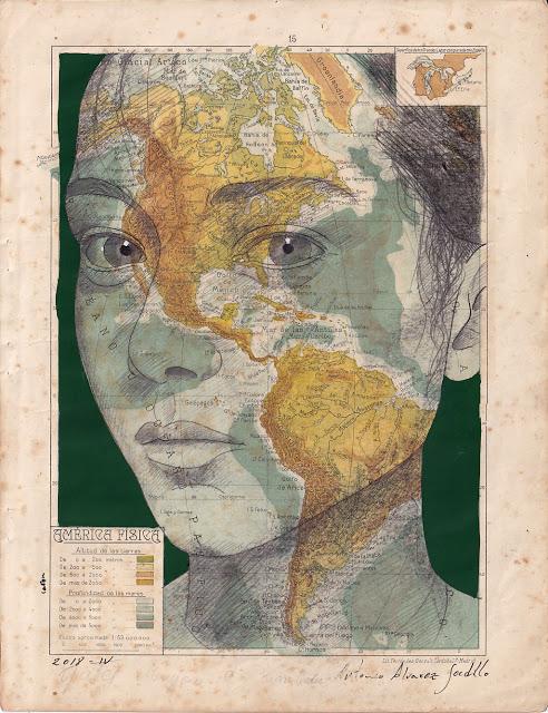 Tiêu đề: Mỹ, 2019 Kỹ thuật: than chì và bút đánh dấu. Hỗ trợ: giấy. bản đồ của Atlas Salinas phiên bản hai mươi đầu in offset. Ed 1946 Các biện pháp: 40 x 50 cm Các biện pháp đóng khung: 46 x 55 cm Đóng khung € 175