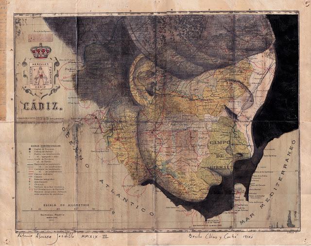 Tiêu đề: Cádiz, 2019. Kỹ thuật: vẽ, mực Trung Quốc. Hỗ trợ: giấy. bản đồ khu vực La España Benito Chias Ed. 1910. Litva. Các biện pháp tại chỗ: 38 x 49 cm Đóng khung € 250