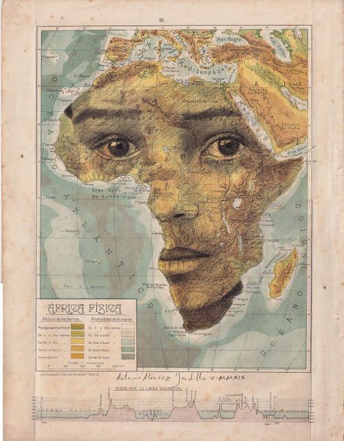 Tiêu đề: Châu Phi vật lý, 2019 Kỹ thuật: bút chì béo. Hỗ trợ: giấy. bản đồ của Atlas Salinas phiên bản hai mươi đầu in offset. Ed 1946 Các biện pháp: 40 x 50 cm Các biện pháp đóng khung: 46 x 55 cm Đóng khung € 175