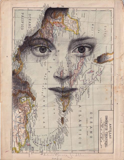 Tiêu đề: Antilles, 2019 Kỹ thuật: bút chì béo. Hỗ trợ: giấy. bản đồ của Atlas Salinas phiên bản hai mươi đầu in offset. Ed 1946 Các biện pháp: 40 x 50 cm Số đo tại chỗ: 33 x 25 cm Các biện pháp đóng khung: 46 x 55 cm Đóng khung € 175 Có khung : € 150