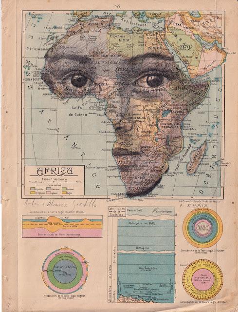 Tiêu đề: Châu Phi, 2019 Kỹ thuật: bút chì béo. Hỗ trợ: giấy. bản đồ của Atlas Salinas phiên bản hai mươi đầu in offset. Ed 1946 Các biện pháp: 40 x 50 cm Các biện pháp đóng khung: 46 x 55 cm Đóng khung € 175