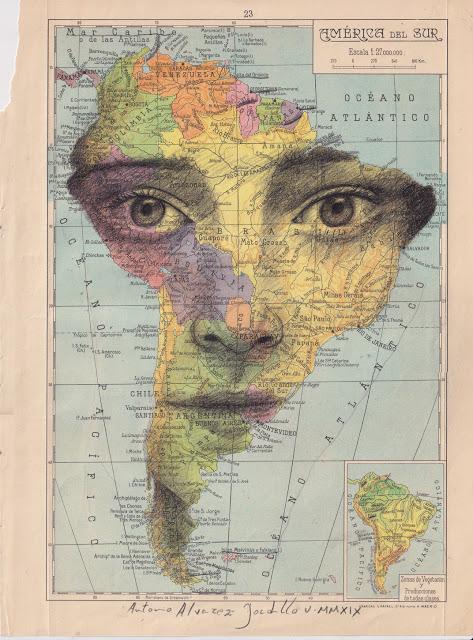 Tiêu đề: Nam Mỹ, 2019 Kỹ thuật: bút chì béo. Hỗ trợ: giấy. bản đồ của Atlas Salinas phiên bản hai mươi đầu in offset. Ed 1946 Các biện pháp: 40 x 50 cm Các biện pháp đóng khung: 46 x 55 cm Đóng khung € 175