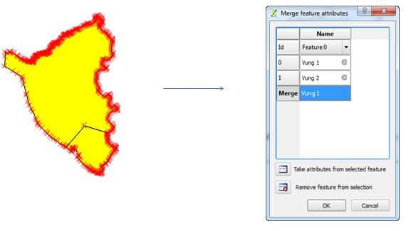 Gộp thuộc tính với công cụ Merge Attributes of Selected Features