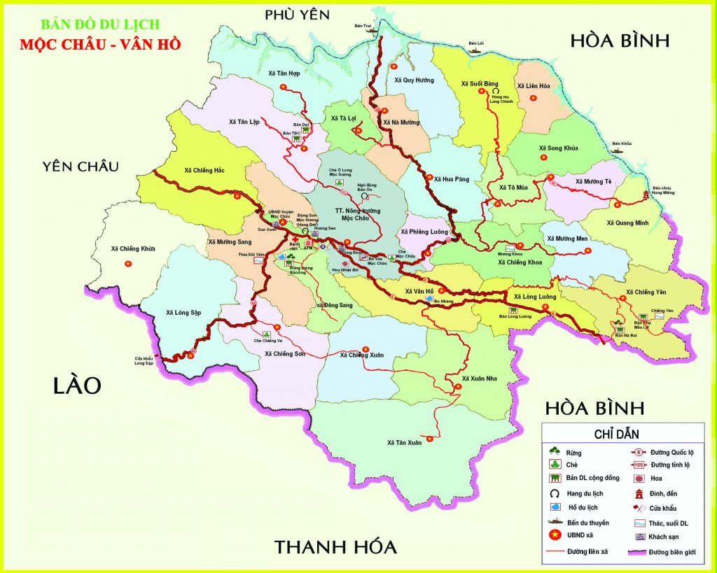 Bản đồ du lịch Sơn La - Mộc Châu