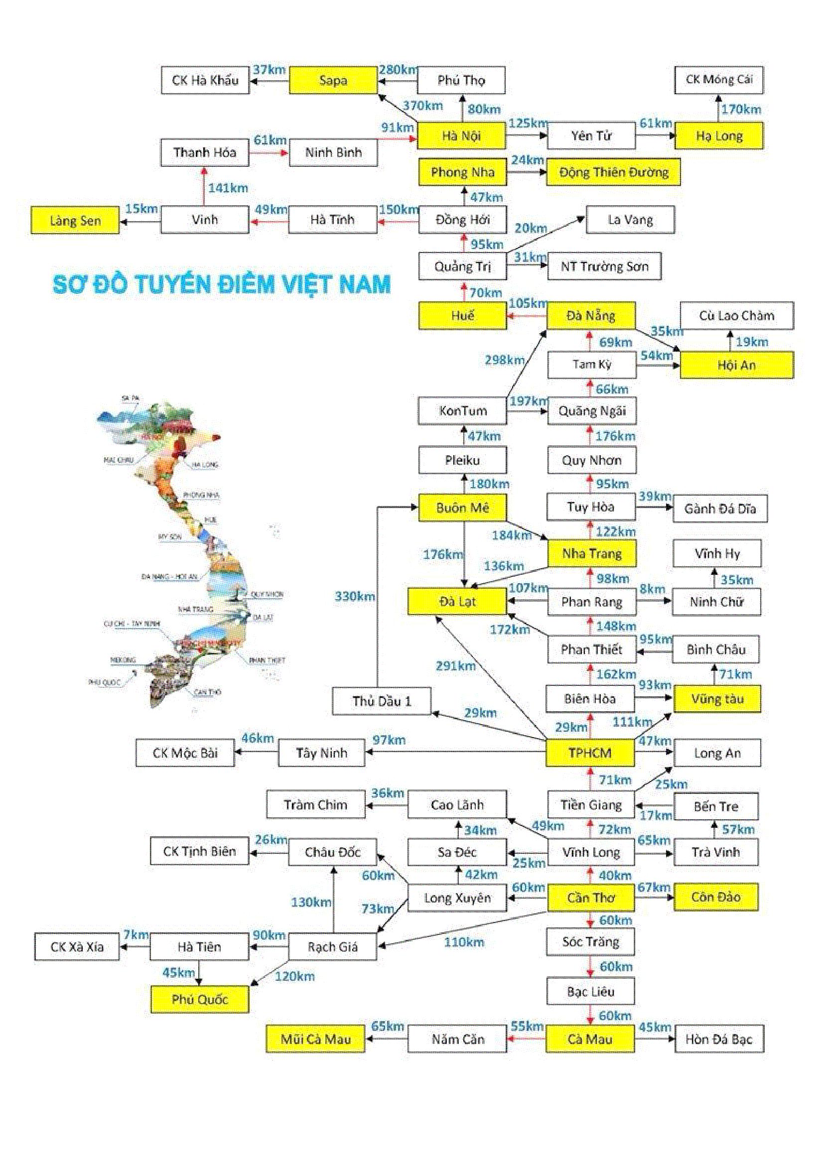 Bàn đồ, sơ đồ tuyến điểm du lịch Việt Nam