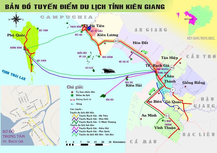 Bản đồ tuyến điểm du lịch kiên giang