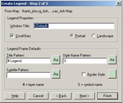 Hộp thoại Create Legend - Step 2 of 3, tạo chú giải bước 2.