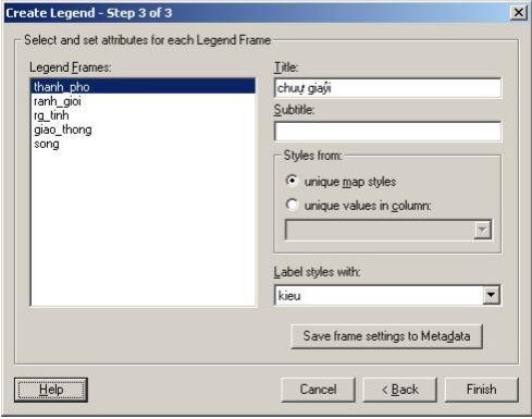 Hộp thoại Create Legend - Step 3 of 3, tạo chú giải - bước 3