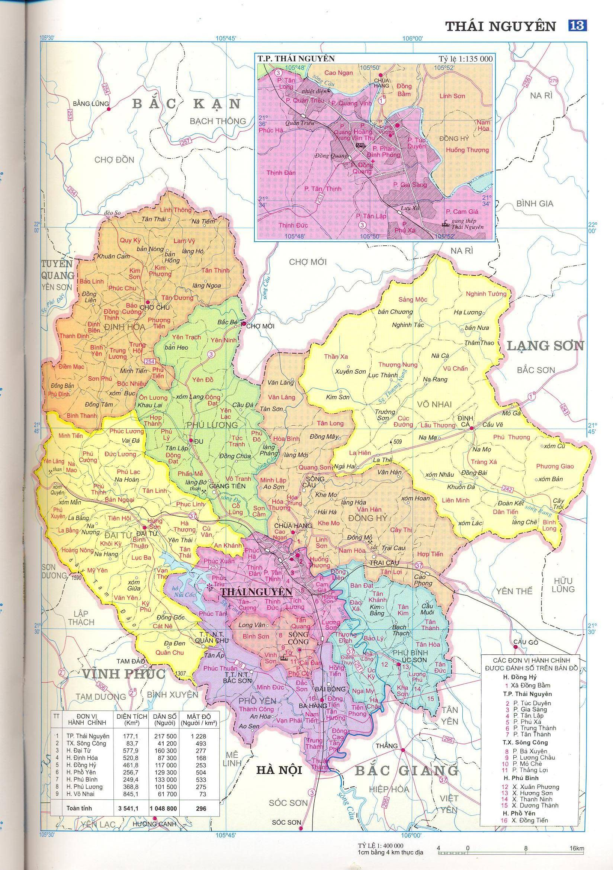 Bản đồ hành chính tỉnhThái Nguyên