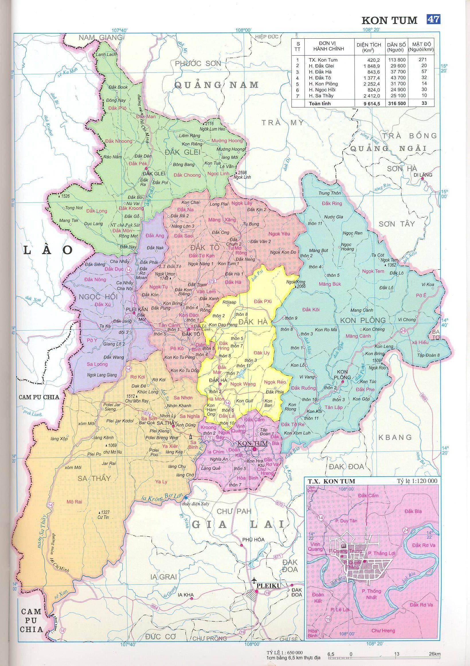 Bản đồ hành chính tỉnh Kom Tum