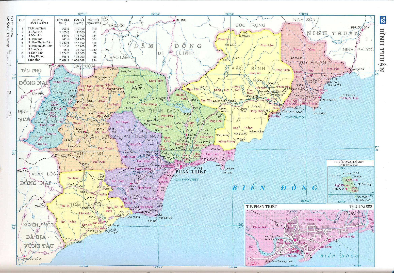 Bản đồ hành chính tỉnh Bình Thuận