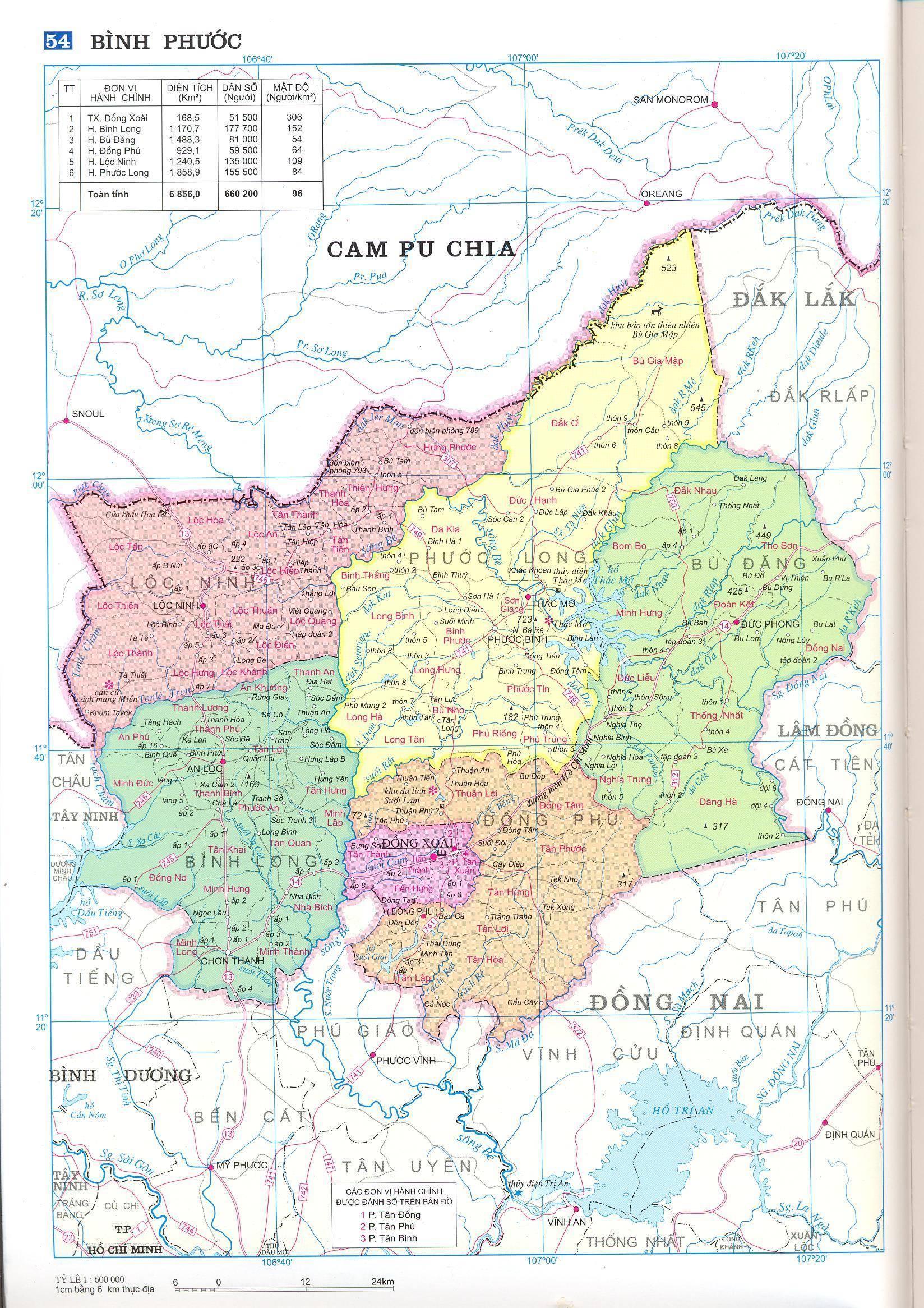 Bản đồ hành chính tỉnh Bình Phước