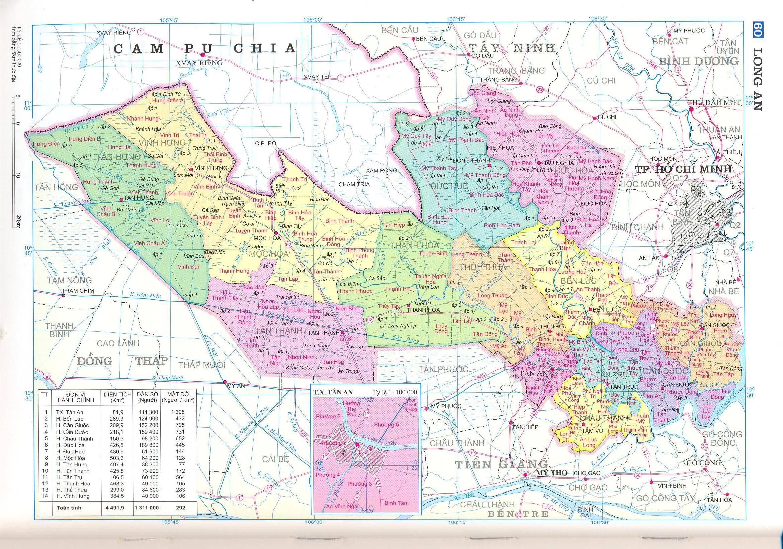 Bản đồ hành chính tỉnh Long An