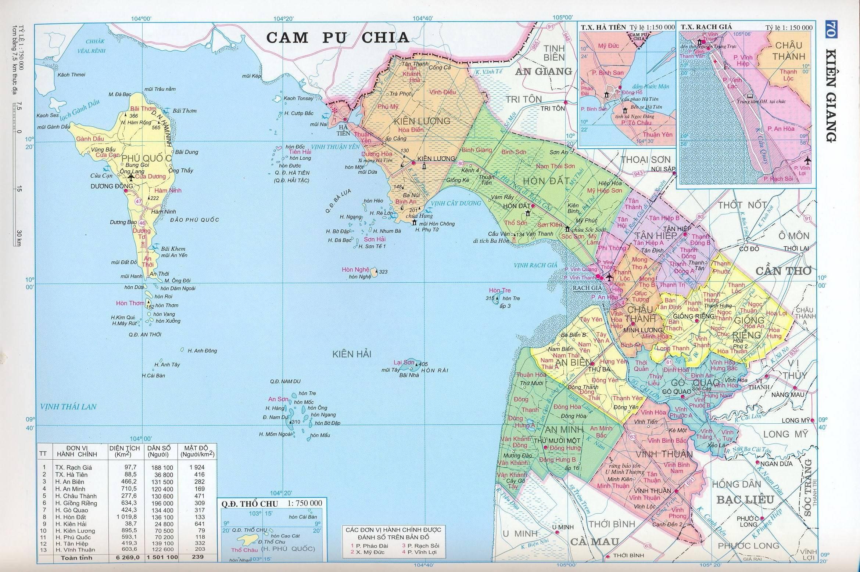 Bản đồ hành chính tỉnh Kiên Giang