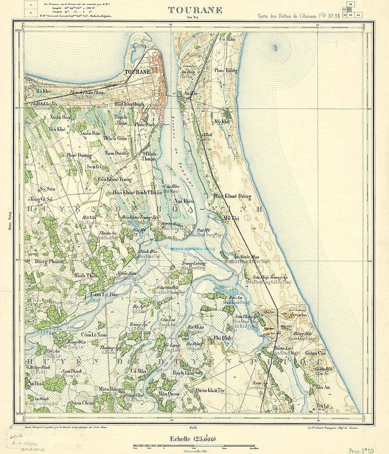 Bản đồ thành phố Đà Nẵng (Tourane) năm 1908 (trừ bán đảo Sơn Trà không được thể hiển trong bản đồ).